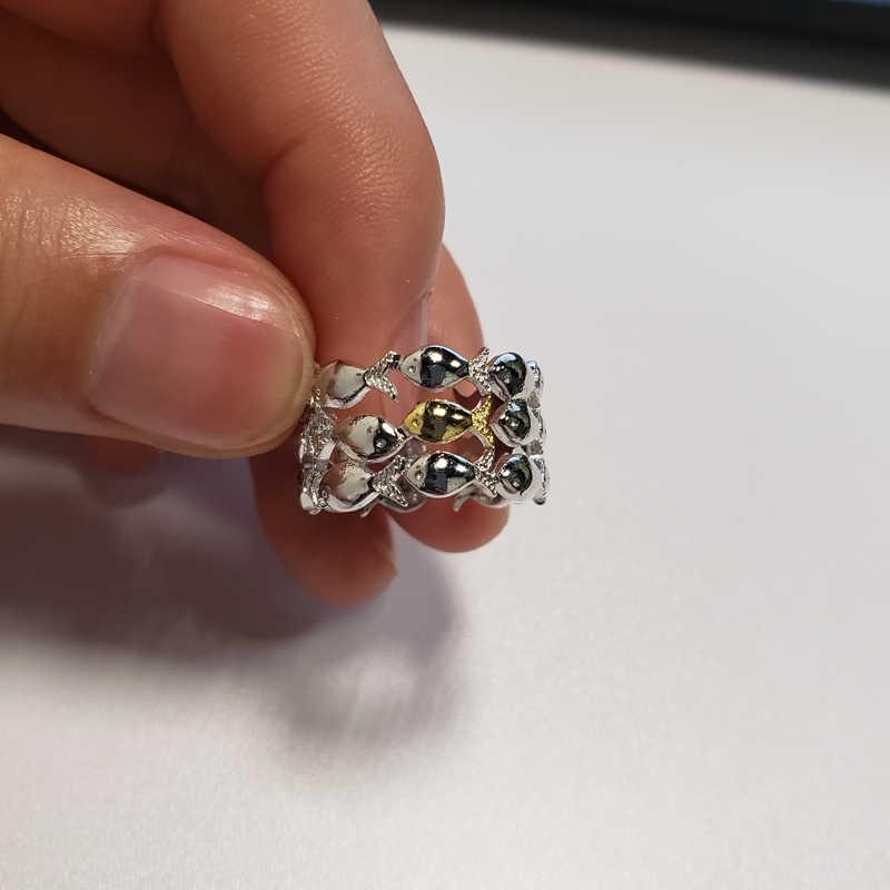 น่ารักปลากลุ่มแหวนเปิดแหวนเงิน Silver Gold สีเครื่องประดับแฟชั่นของขวัญวันเกิดน่ารักแหวนครบรอบของขวัญ Anel