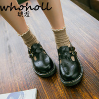 WHOHOLL Women Flats British Style Oxford Shoes Women Autumn Soft Leather Casual Maid shoes Retro buckle Women flat dress Shoes
