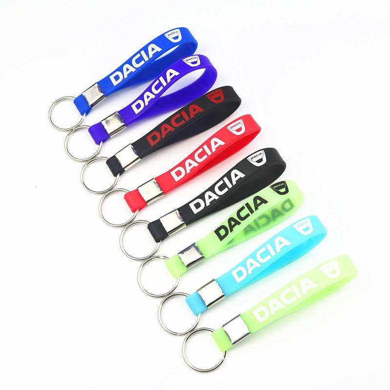 Car Sticke Luminous Silicone Emblem Badge Car Key Ring For Dacia Duster Logan Sandero Lodgy Car Styling Accessories