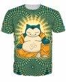 Pokemon Snorlax Snorlax T-Shirt tipo de dormir buda Buda estilo personaje de Dibujos Animados camiseta del verano camisetas camisetas para hombres de las mujeres