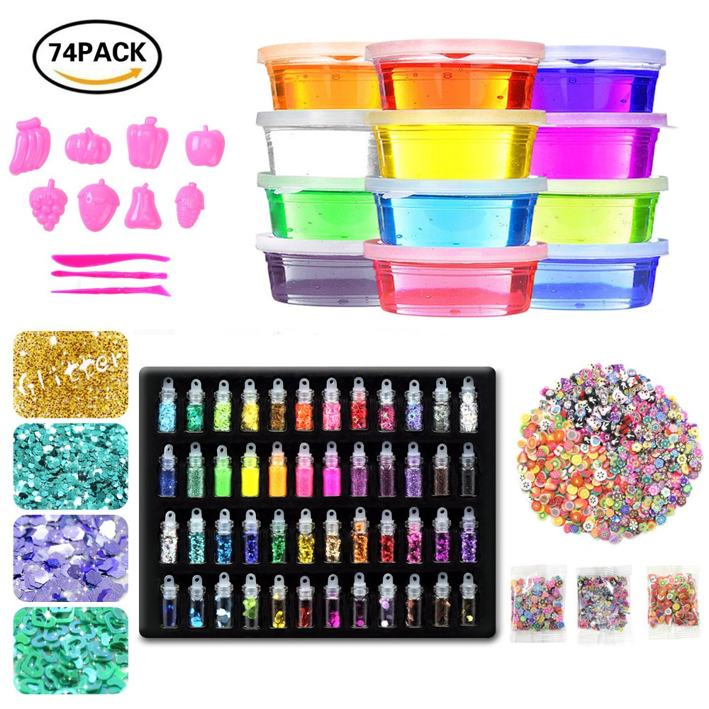 12 Pack Crystal Soft Slime Clay Kit With 48 Bottles Glitter Shaker Jars,3 Pack Fruit Decoration DIY Magic Toy Educational Toys