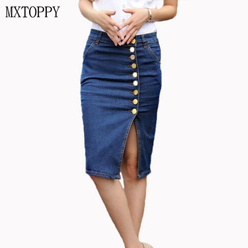 2018 Women Jean Skirt Denim KOPO Sexy Split Skirt Ladies High Waist Skirt 5xl 6xl Plus Sizes Pencil Kawaii Button Skirt Slim