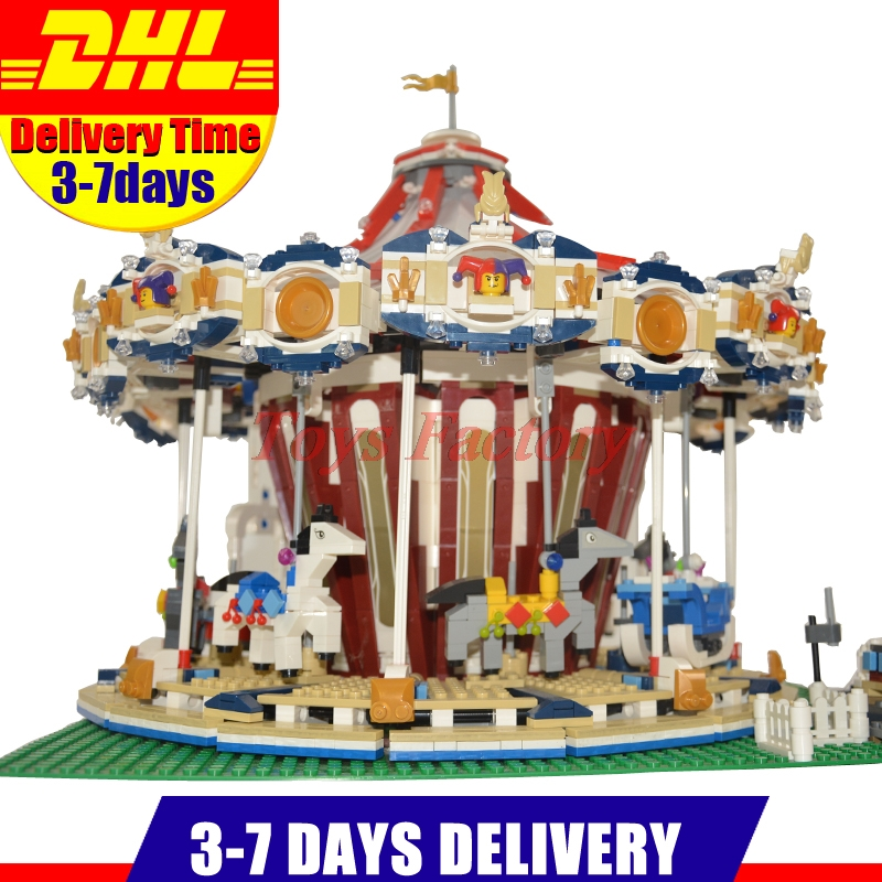 With Motor Clone 10196 LEPIN 15013 3263Pcs City Street Grand Carousel Model Building Kits Set Blocks Brick Toy lepin 15013 city sreet carousel model building kits blocks toy compatible 10196 with funny children educational lovely gift toys