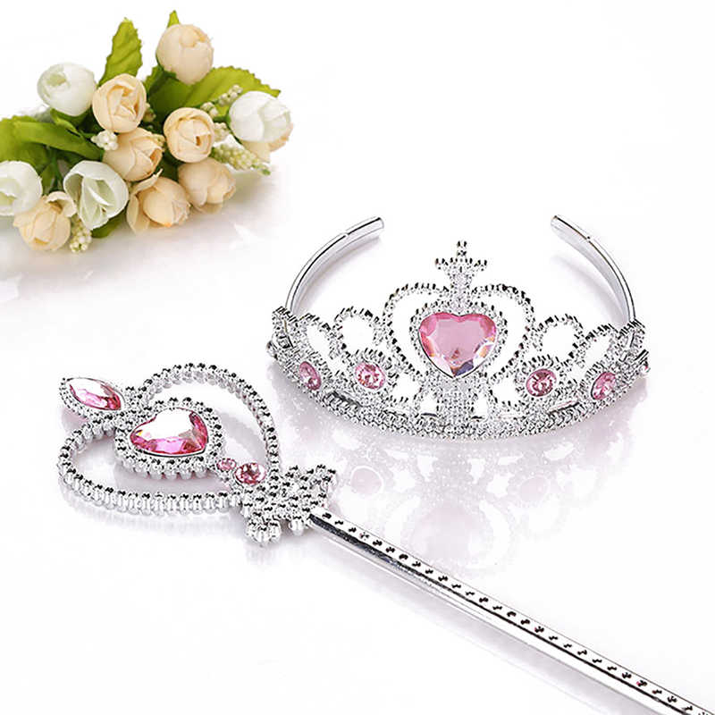 2 Piece/set Sweet Princess Tiara Elsa Children Headband Crown Girl Magic Stickwands Party Gift Hair Jewelr Cosplay Accessories