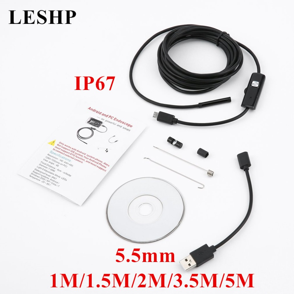 1/1.5/2/3.5/5M 5.5mm Endoscope Camera 720P Soft Cable Waterproof 6 LED Mini USB Endoscop ...