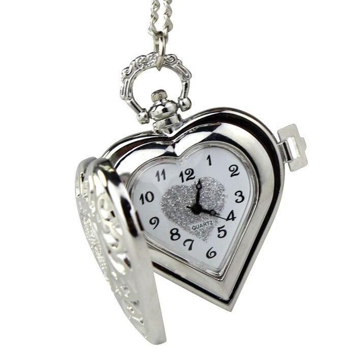 Nouvelle arrivée Quartz Montre De Poche Analogique Pendentif Collier Hommes Femmes Pendentif Chaîne Collier COEUR Creux Vintage Montre relojes