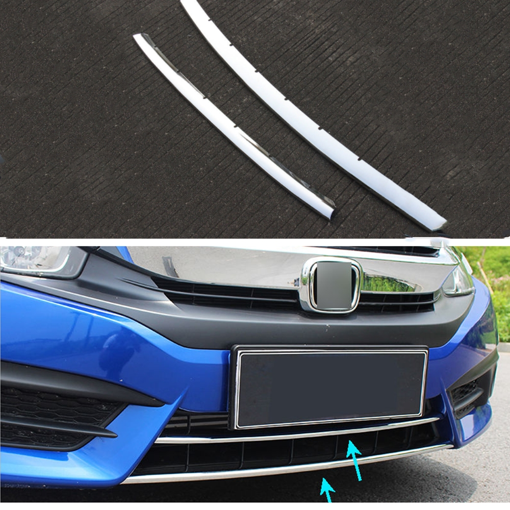 2pcs/set ABS Car Front Lower Bumper Hood Trim Grill Cover Protector Frame Fit for Honda Civic 2016 2017 Car Styling Accesssories