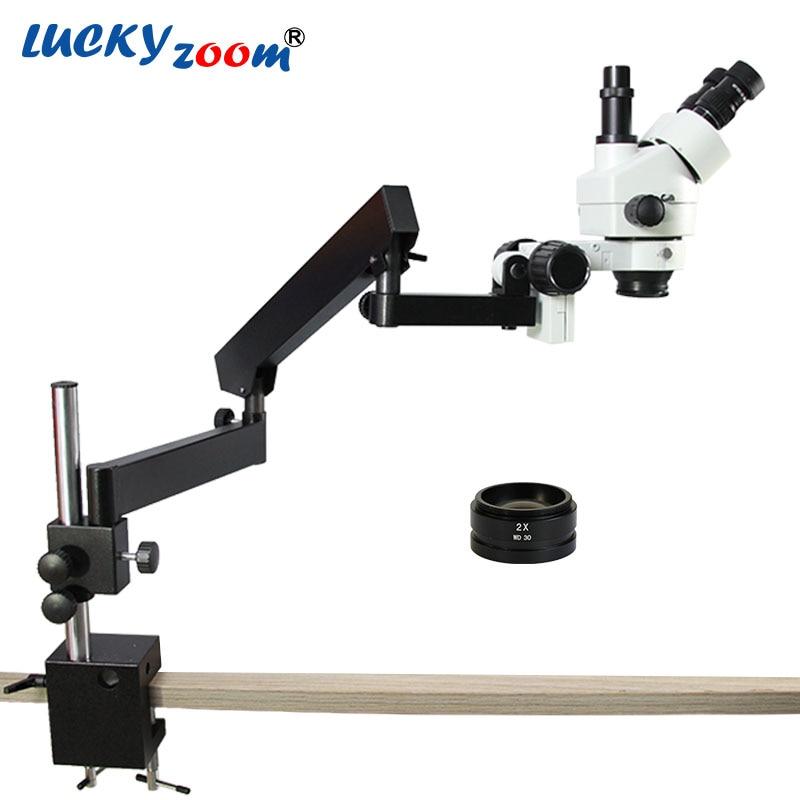 Luckyzoom 7X 90X Articulating Arm Pillar Stereo Zoom Microscope 2.0X Objective Lens WD30MM Trinocular Microscopio Accessories