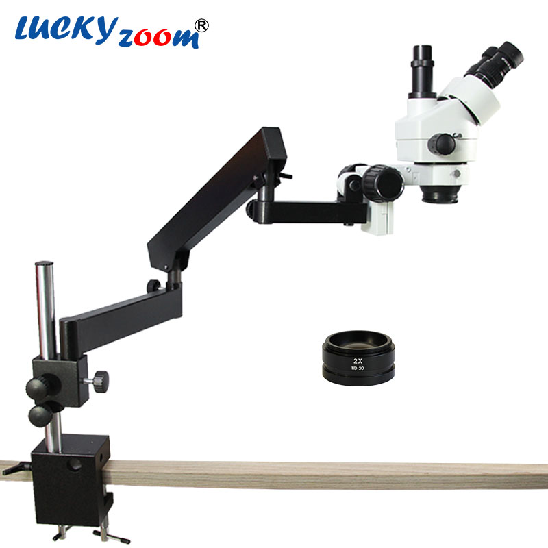 Lucky Zoom Brand 7X-90X ARTICULATING ARM ZOOM STEREO MICROSCOPE+SZM2.0X Objective Auxillary Lens Microscope Accessories lucky zoom brand strong articulating stand with clamp for stereo microscope a3 focus microscope accessories free shipping