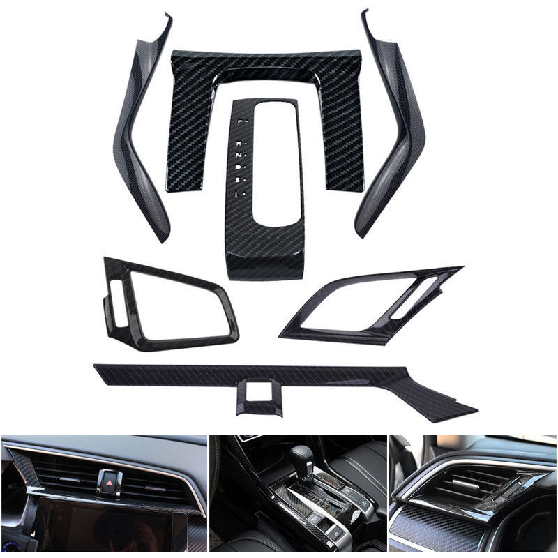 7pcs/set Carbon Fiber Colors Car Interior Mouldings Cover Frame Decal Trim Fit For 2016 2017 Honda Civic Car Styling Accessories carbon fiber abs sticker steering wheel trim button switch panel frame cover sticker accessories for honda civic 2016 2017