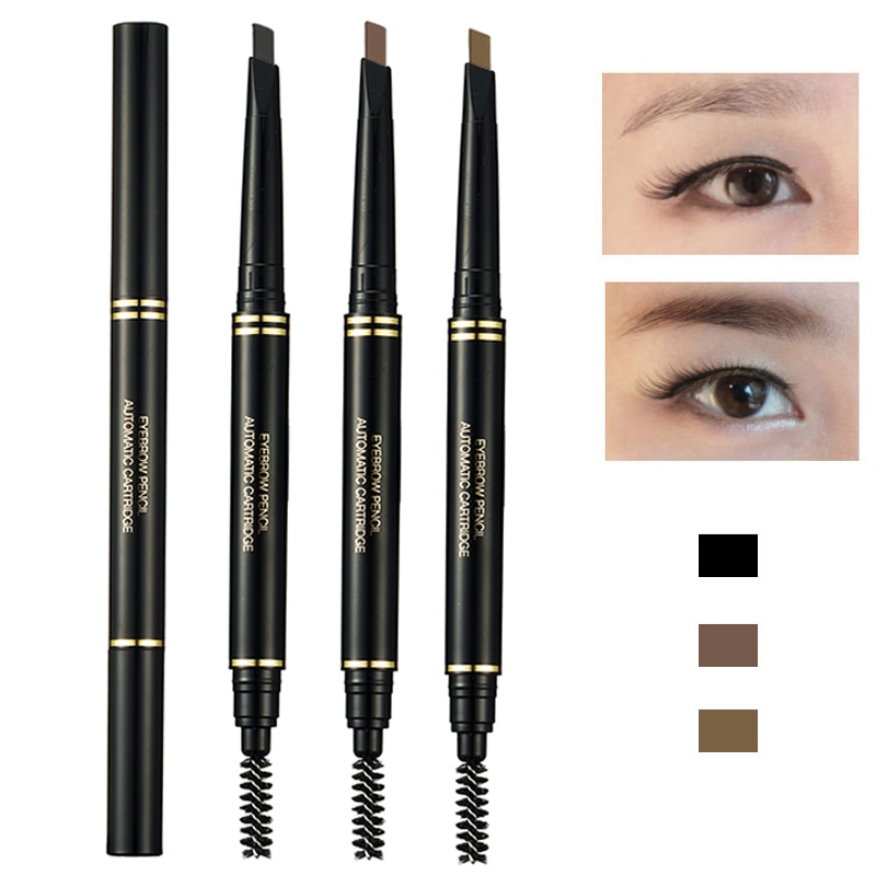 MUSIC ROSE 3 Colors Double Ended Eyebrow Pencil Waterproof Smudge-proof  Long Lasting Colorfast Eyebrow Pen With Brush