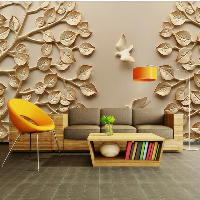 Beibehang Custom Wallpaper Woodcarving Leaves Pigeons Tv Background Wall Decorative Painting 5d Murals 8d Py