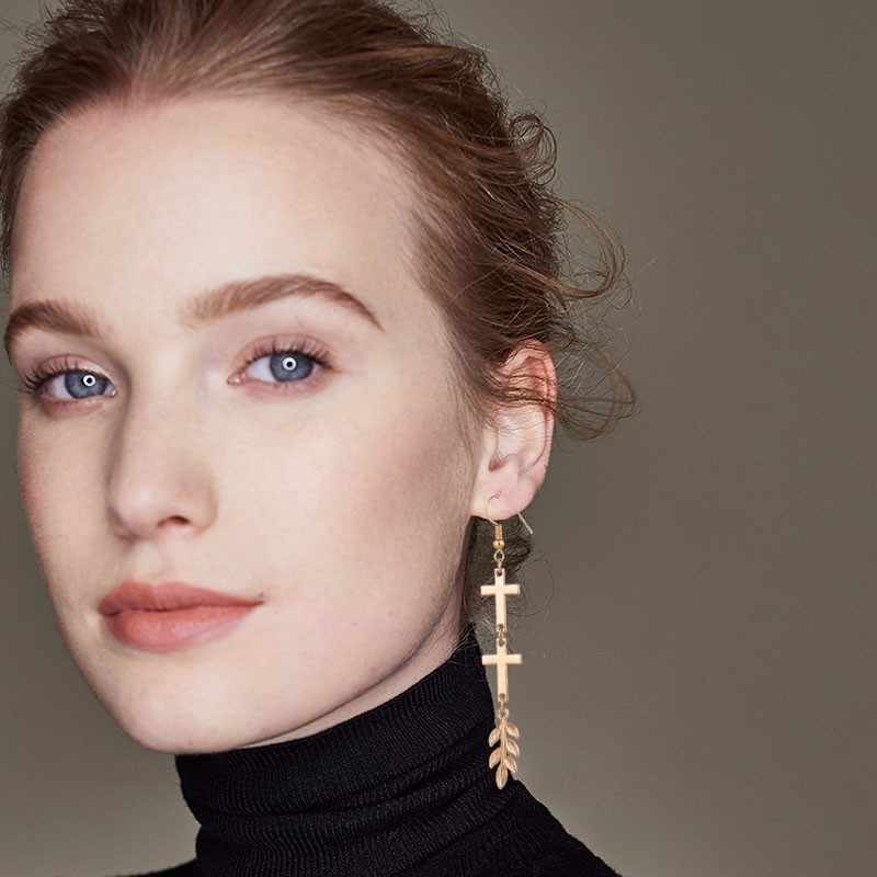 かわいいステンレス鋼ブラブラ EarringsFor 女性 3D 両面クロス生活ツリードロップイヤリングシルバーブラックメタルクリスマスイヤリングギフト