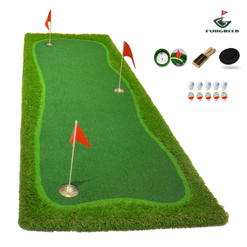 FUNGREEN 3x9 ft Indoor&Outdoor Golf Putting Green Practice Turf Putting Mats Golf Training Green With Free Gift-in Golf Training Aids from Sports & Entertainment