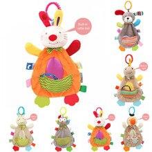 Bebê Brinquedos Do Bebê Chocalhos Móvel Macio 0 12 mês Toalha Cama Sino De Natal Animais Berço Newborn Stroller Brinquedo de Montessori погремушки