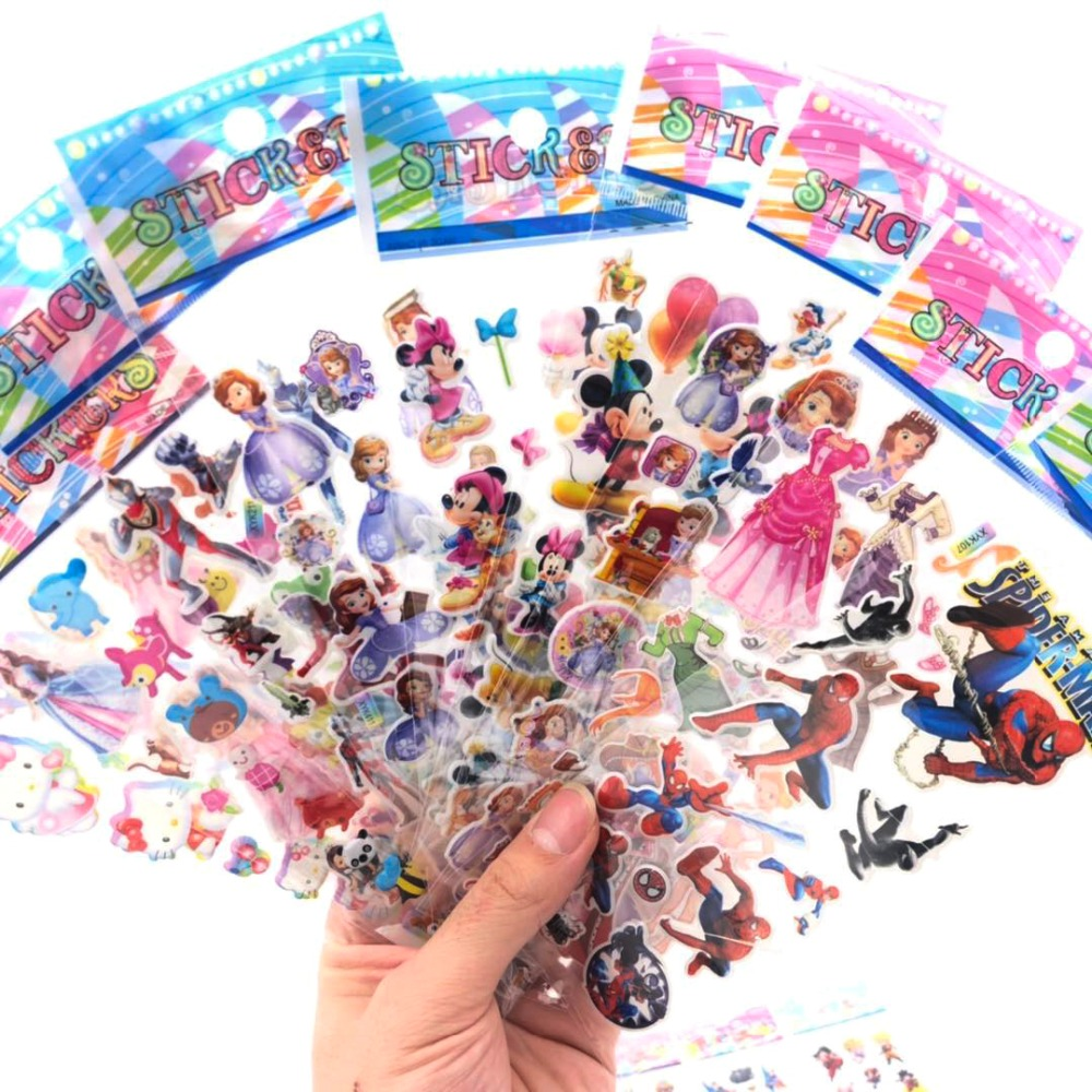 10 Pcs / Lot Cartoon Patterns Disney Fashion Brand Kids Toys Cartoon 3D Stickers Children Girls Boys PVC Stickers Bubble Sticker