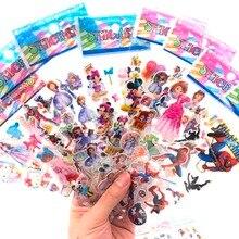 10 pcs / lot cartoon patterns Disney Fashion Brand Kids Toys Cartoon 3D Stickers Children girls boys PVC Bubble Sticker