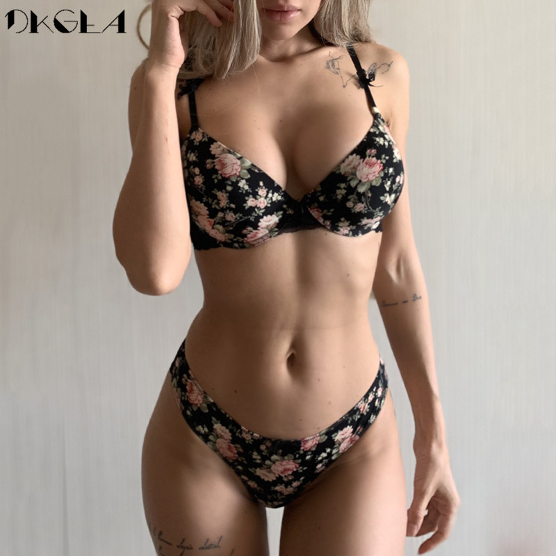 Classic Black Underwear   Set   Sexy   Bras   Printing Fashion Push Up   Bra   Panties   sets   Thick Cotton Brassiere Lace Women Lingerie   Set