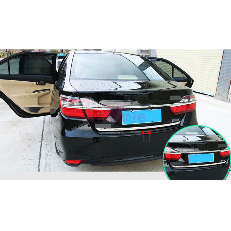 Rear Trunk Steamer Trim Kits 2012 2013 2014 2015 2016 2017 2018 ABS Frame Panel Car Styling For Toyota Camry Accessories car auto accessories rear trunk trim tail door trim for subaru xv 2009 2010 2011 2012 2013 2014 abs chrome 1pc per set