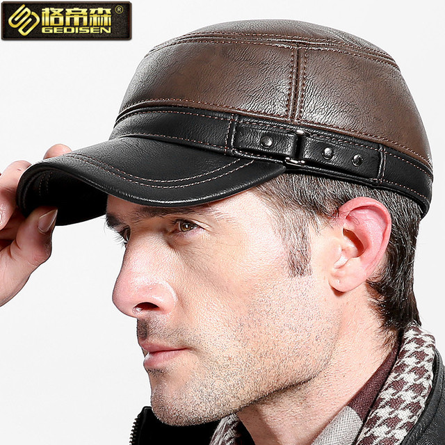 Male Winter Earmuffs Hat Men's Fashion Genuine Leather Cap Flat-topped Hat Adult Wool Warm Hat New Year Gift B-4462