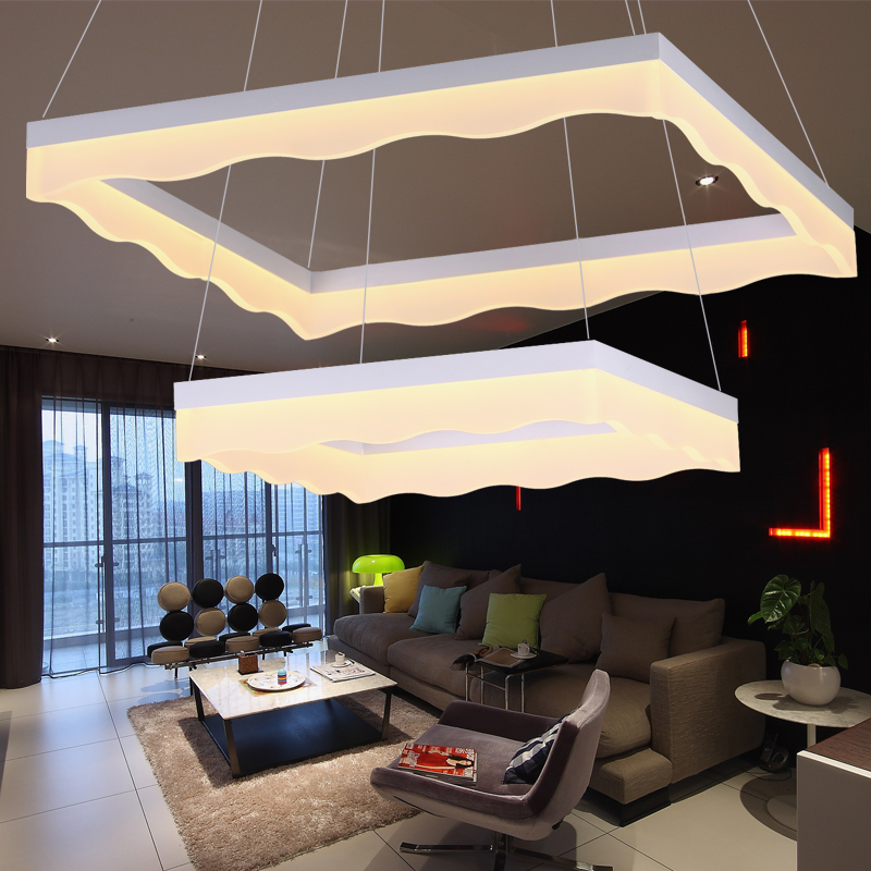 LED 50w Creative square acrylic sitting room dining-room bedroom chandeliers 110v-240v   @-9 led 80 60cm 81w 100w acrylic sitting room bedroom conference room dining room circle pendant lamps 85 265v 9