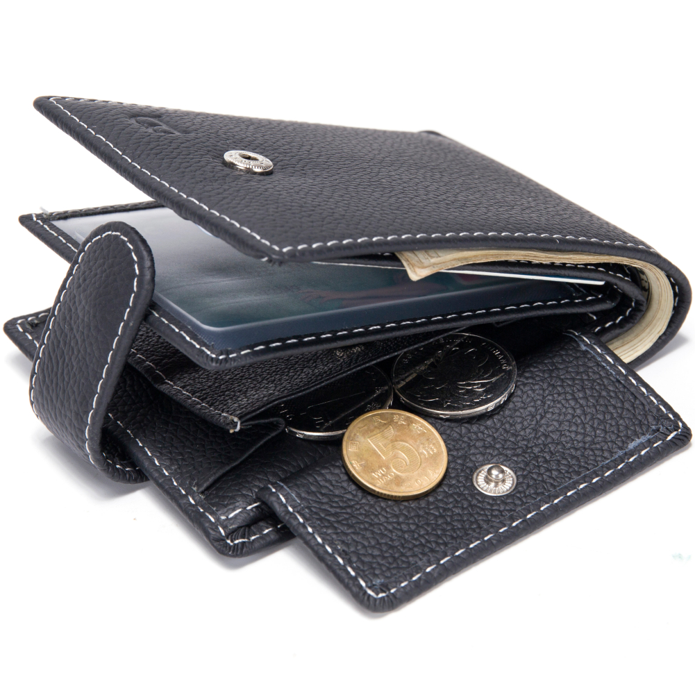 Baborry Dollar Price Men's Wallets Genuine Cow Leather With Coin Pocket Black Thin Slim Hasp 3 Folds ID Card Holder Purse Wallet rfid theft protect dollar price men wallets famous brand with coin pocket purse card holder zipper genuine cow leather wallets