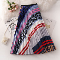 Half length Skirt Summer New Female European American Style Retro High Waist Was Thin Abstract Print Pleated Midi Skirt Mw730
