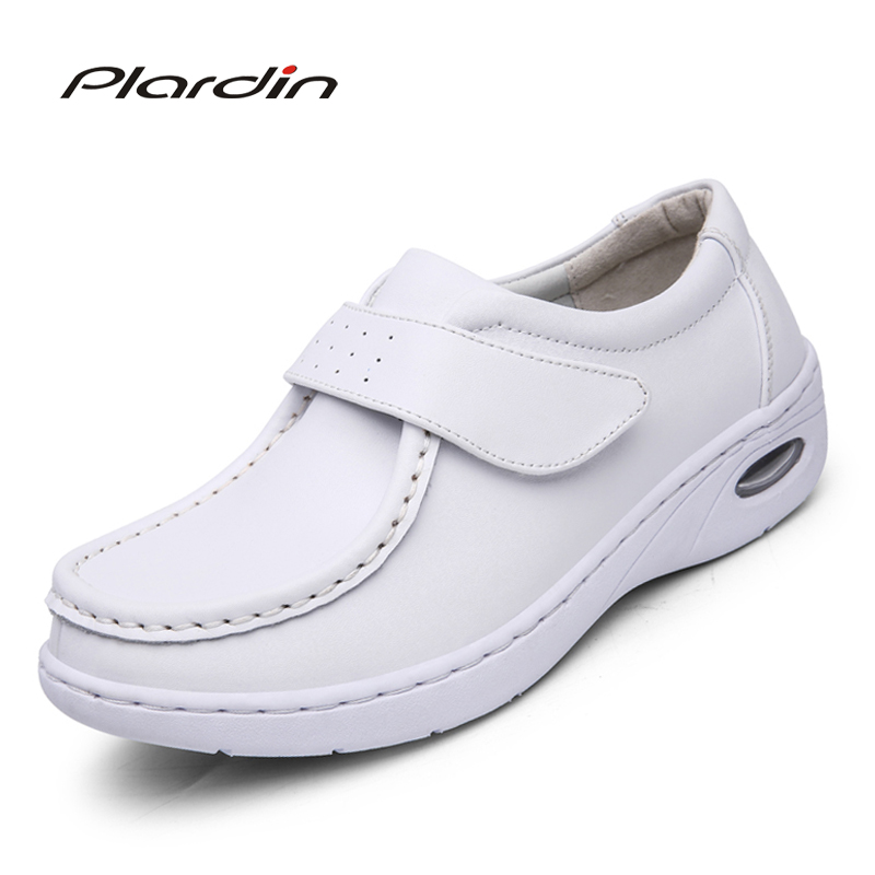 plardin New Four Seasons Woman Pure white Nurse shoes women Platform soft Hook&Loop Air cushion casual genuine leather shoe new european top grade embroidery cushion sell like hot cakes four seasons pleuche gm direct manufacturers in the cushion