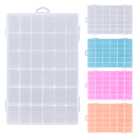 Adjustable 36 Grid Transparent Compartment PP Plastic Storage Box Jewelry Earring Case Home Organizer Box