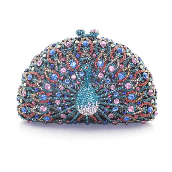 Sac Paon À Soirée Designer Multi Mode Peacock Mesdames Couleur De Exquise Main Cristal Embrayage g7qHX4F