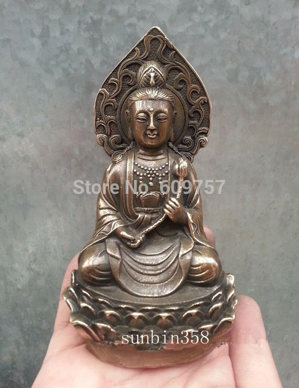 rare luck Tibetan Unique ! Chinese Old Bronze Collectable Buddha Collectables Statue gift art bronze Genuine copper