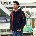 Simwood Men Parkas 2016 New Arrival Brand Winter Jacket Men Fashion Thick Slim Casual Coat High Quality  MF1537