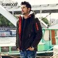 Simwood homens parkas 2016 chegada nova marca homens jaqueta moda inverno grosso magro casual brasão de alta qualidade mf1537