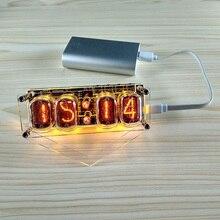 4 bit integrierte glow rohr uhr IN 12A IN 12B uhr glow rohr Bunte LED DS3231 nixieröhren uhr Magie Eye LED hintergrundbeleuchtung