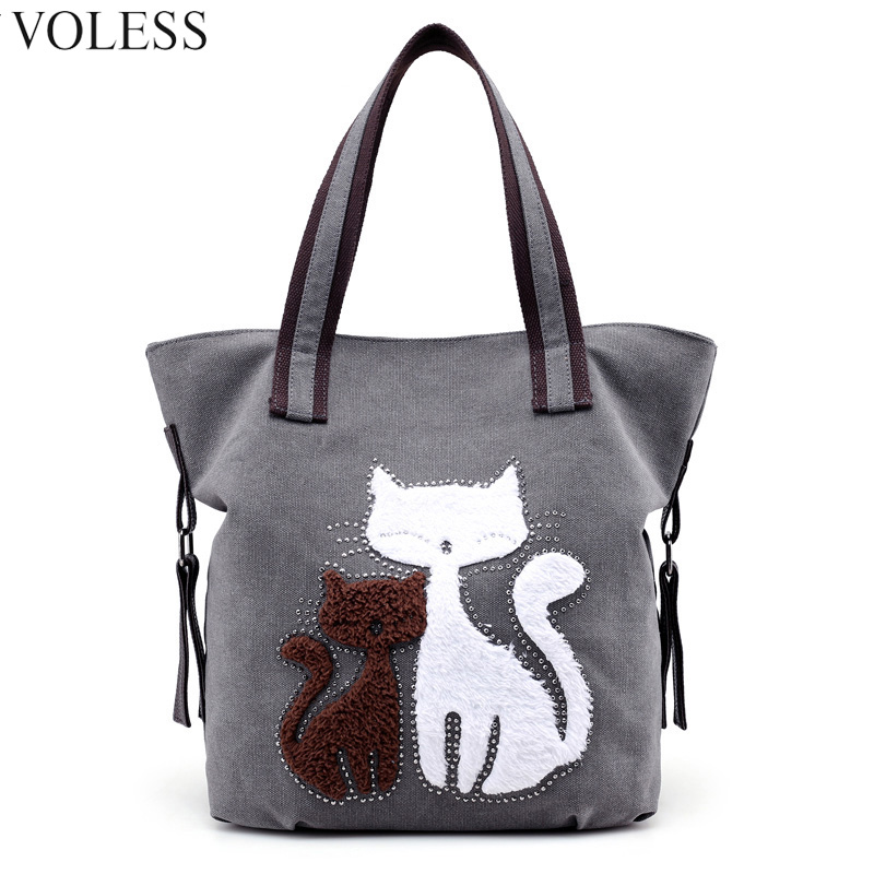 Cute Cat Canvas Women Handbag Top-handle Famous Brand Large Capacity Women Shoulder Bag High Quality Canvas Women Bags sac