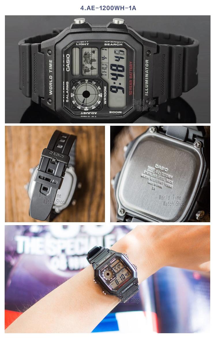 Casio Watch Analogue Mens Quartz Sports Casual Vintage Square World Time Ae 1200whd 1a Original Xlmodel Photo 0000