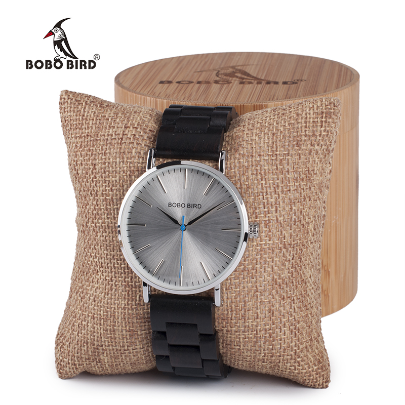 BOBO BIRD Metal case with wooden Fold strap Quartz Watches For Men or Women gifts watch send with wood box custom logo clock bobo bird metal case with wooden fold strap quartz watches for men or women gifts watch send with wood box custom logo clock