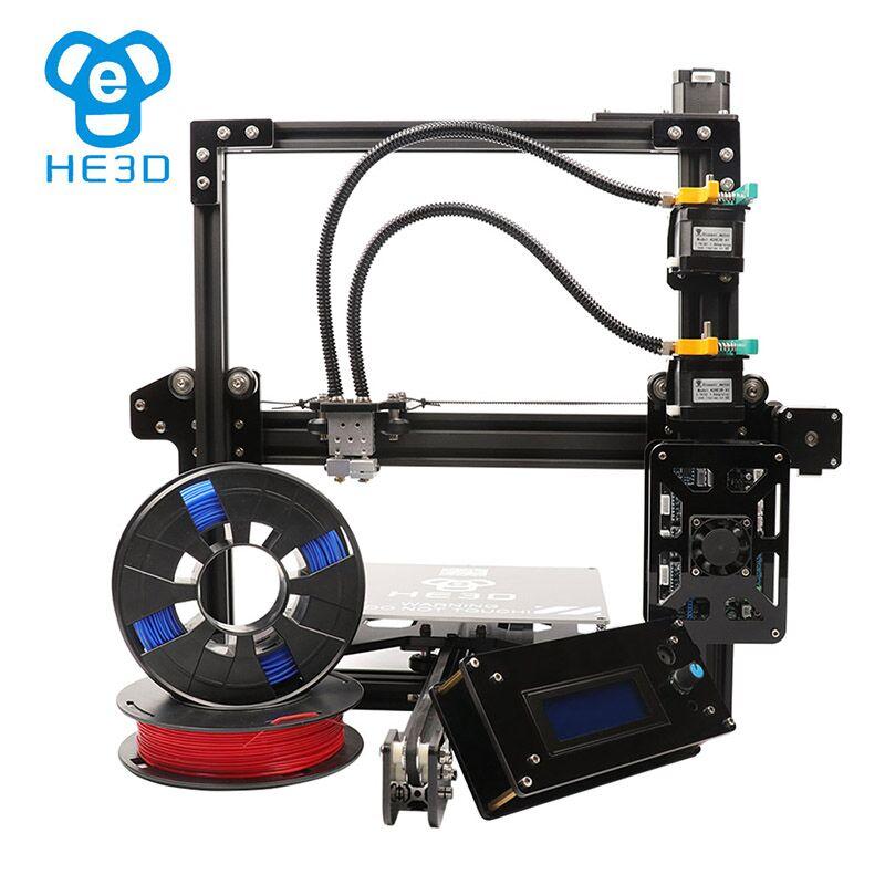 2018 Nouvelle mise à jour reprap auto niveau HE3D EI3 DOUBLE flex en aluminium extrudeuse bricolage 3D IMPRIMANTE chaleur lit 200*200 * 200mm taille d'impression