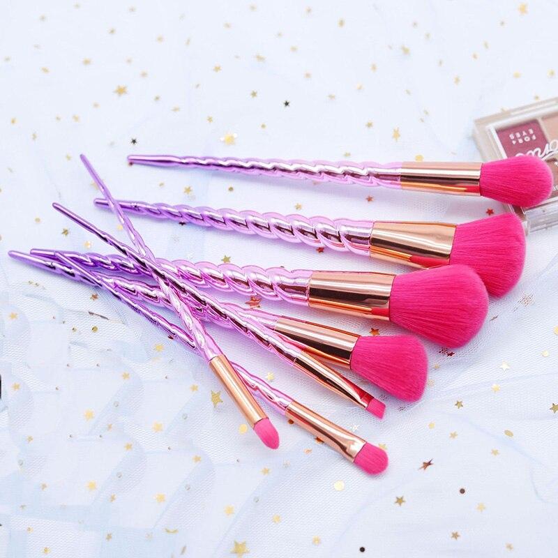 Neue 7 stücke Schöne Einhorn Rosa Haar Make-Up Pinsel Set Foundation Blending Power Falte Pinsel Kosmetik Beauty Make Up Pinsel werkzeug