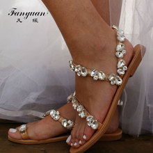 Fanyuan Fashion Peep Toe Ankle Strap Sandals Casual crystal Narrow Band Flats Women Shoes Summer Beach Flat