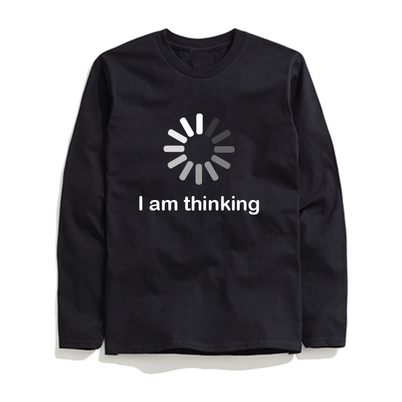 THE COOLMIND 2018 New Design Comfortable Kintted I'm Thinking Printed Men T Shirt Casual O-neck Long Sleeve Summer Mens T-shirt