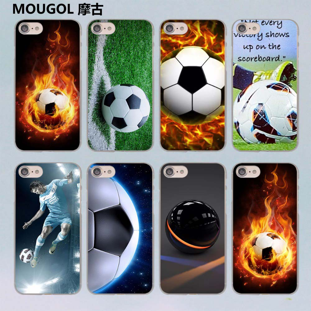 MOUGOL Fire Football Soccer Ball design transparent clear hard case cover for Apple iPhone 7 7Plus 6S 6 Plus 5 5s SE 5C