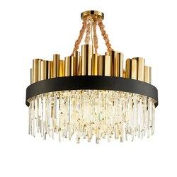 Nowoczesny luksusowy kryształ żyrandol okrągły stal nierdzewna złoty salon willa kryształowa ozdoba LED lampa