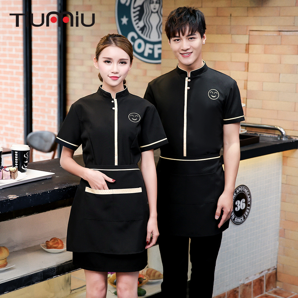 Smile Face Embroidery Overalls Stand Collar Short-sleeved Hotel Waiter Uniform Summer Restaurant Cafe Bakery Waitress Work Shirt