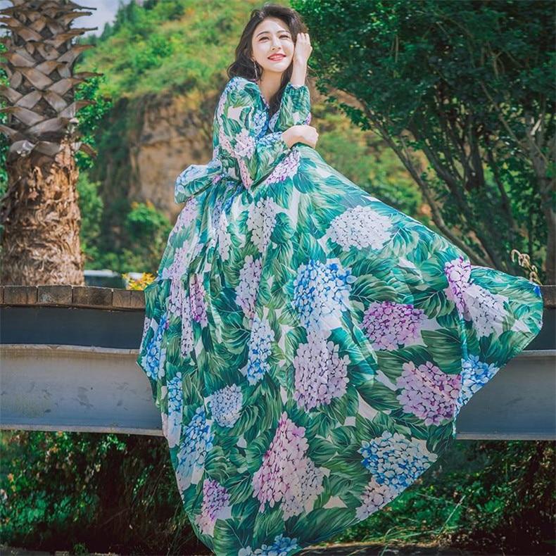 New High Quality Explosions Leisure Elegant Dresses Women Print summer Casual Shirt Dress