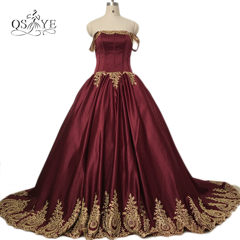 Burgundy Sexy Off the Shoulder Plus Size Long Prom Dresses with Gold Lace Appliques Satin Women Formal Evening Dress Custom Made