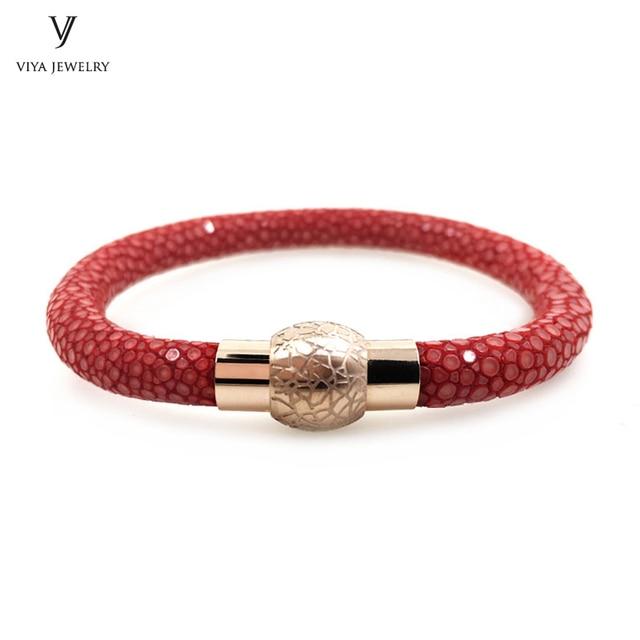 2017luxury Men Stingray Bracelet Magnet Clasp Jewelry Genuine Red Leather Magnetic Best Friendship