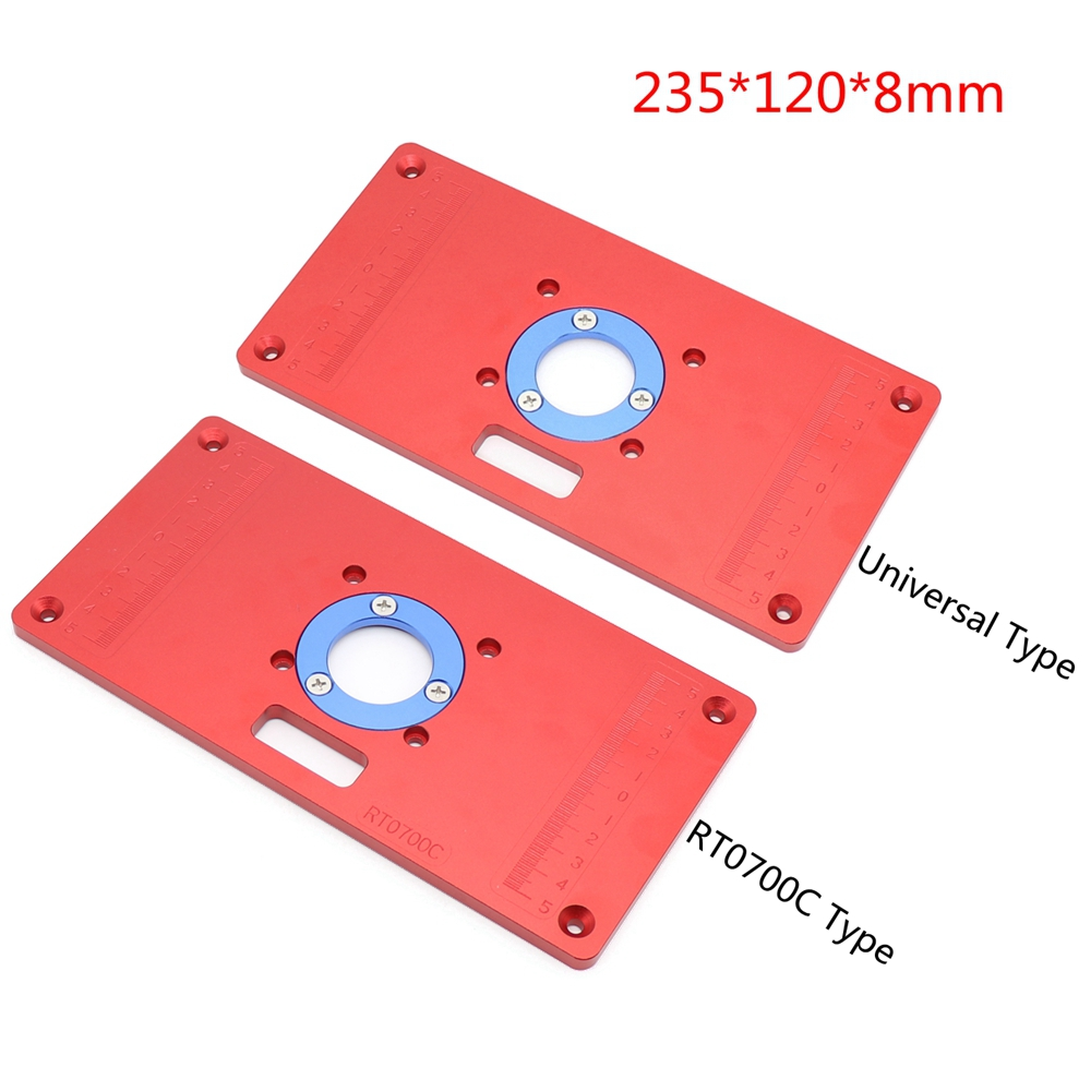 Aluminum Router Table Insert Plate with 2Pcs Insert Ring for Woodworking Bench Tools Wood Router Table