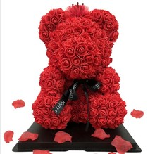 Valentine Souvenir Gifts 40cm Rose Bear Artificial Flowers Home Decorative Wedding Supply with Gift Box
