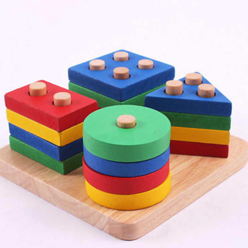 Baby Toys Educational Wooden Geometric Sorting Board Montessori Kids Educational Toys Building Puzzle Child Gift LA881855